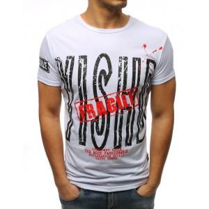 Originálne biele pánske tričko s dizajnovou potlačou nápisu