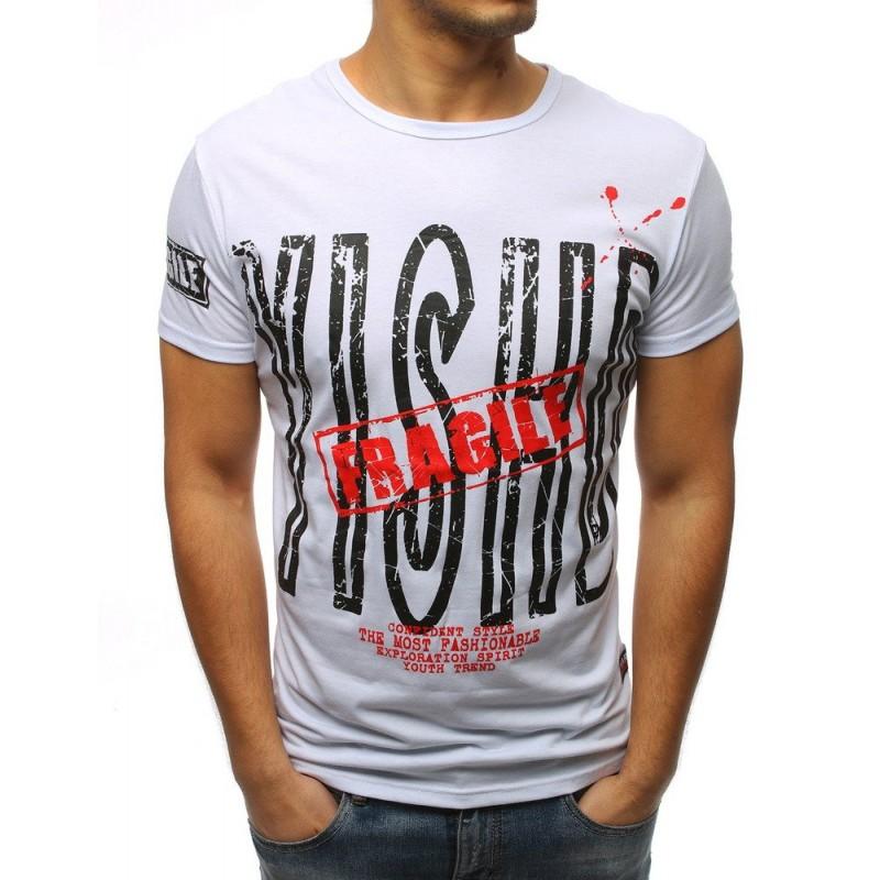 8e526c5c730e Originálne biele pánske tričko s dizajnovou potlačou nápisu