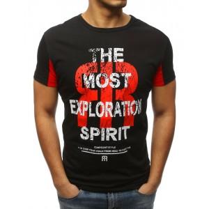 Čierne pánske tričko s okrúhlym výstrihom a nápisom