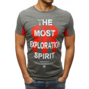 Sivé pánske tričko s dizajnovým nápisom a krátkym rukávom