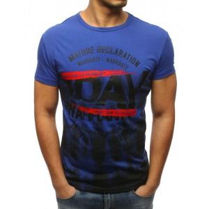 Štýlové pánske modré tričko s nápisom na voľný čas
