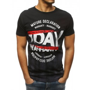Čierne štýlové pánske tričko s krátkym rukávom a trendy nápisom