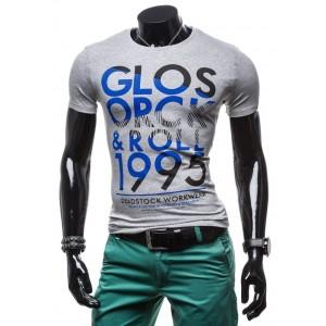 Športové pánske tričká sivej farby s nápisom