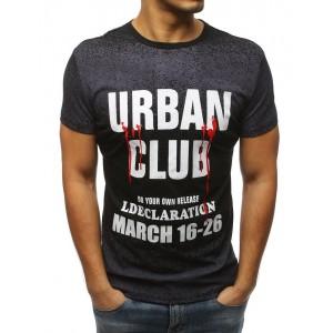 Štýlové pánske tričko čiernej farby s okrúhlym dekoltom a bielym nápisom