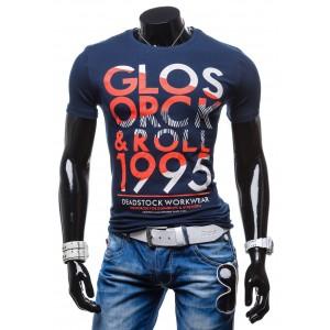 Outdoorové pánske tričká s nápismi modrej farby