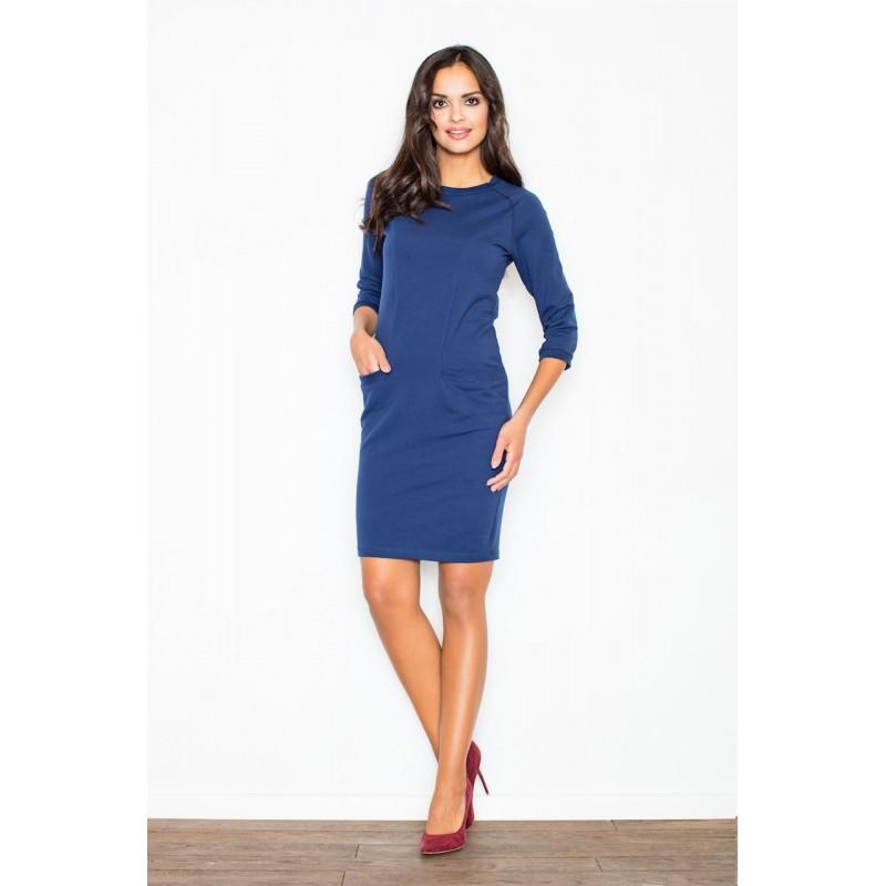 fd1b96bc4fa6 Dámske elegantné šaty tmavomodrej farby s vreckami