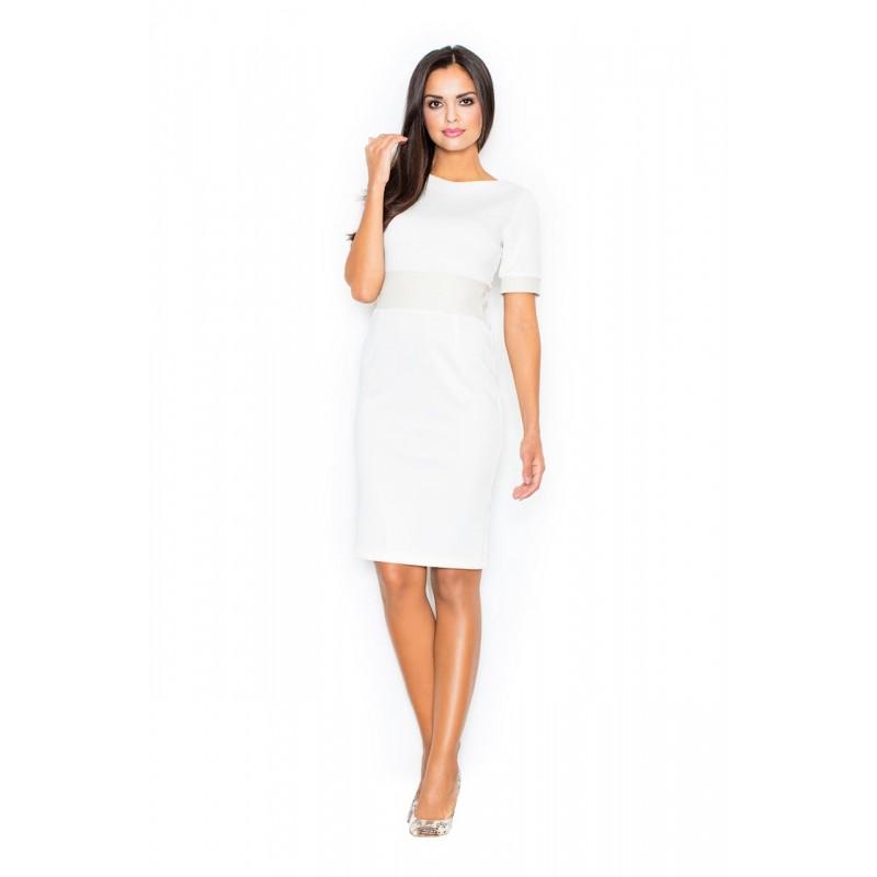 0b87d8c7af85 Elegantné dámske šaty s krátkymi rukávmi v svetlo krémovej farbe