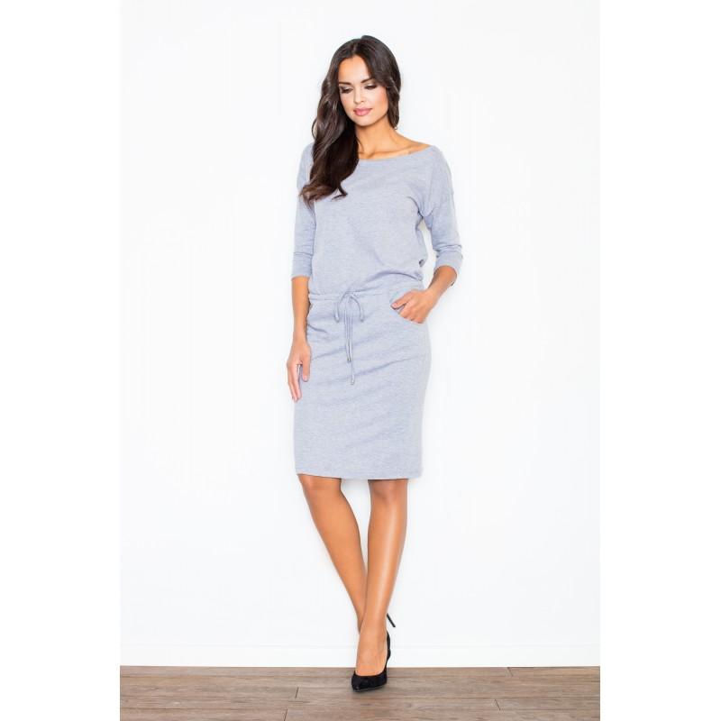 fdfc6bd1a8 Bavlnené sivé šaty dámske s viazaním v páse