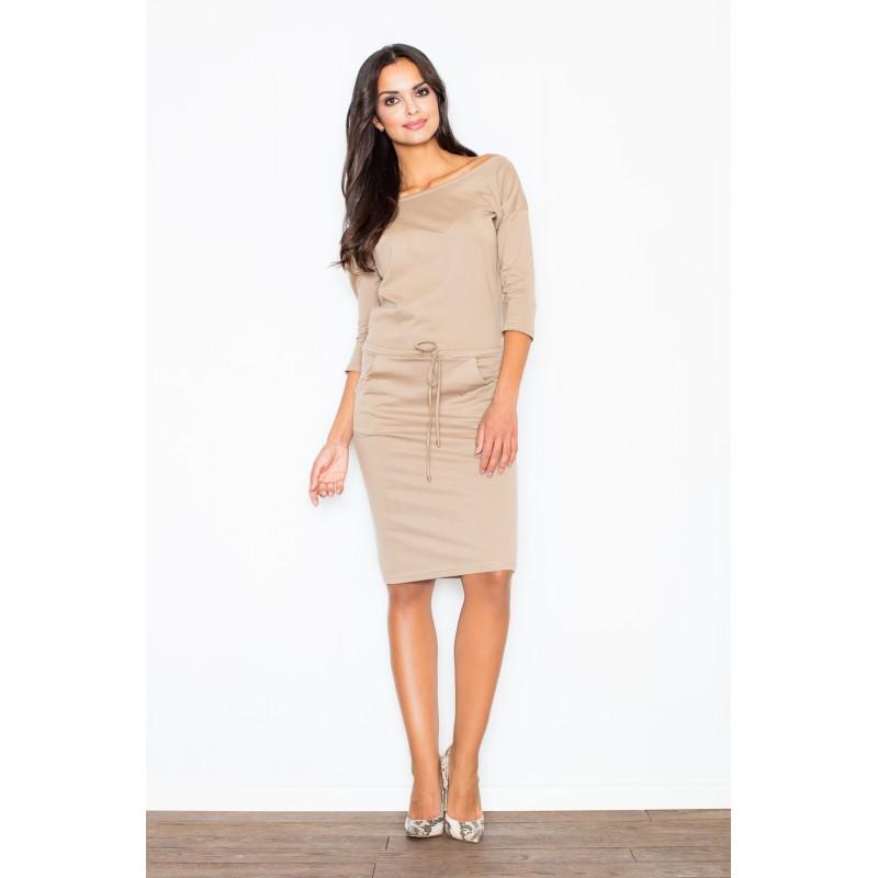 Dámske bavlnené šaty béžovej farby so sťahovaním v páse 6db63359437