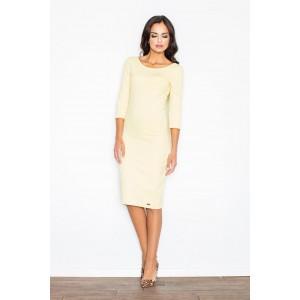 Žlté dámske šaty úzkeho strihu