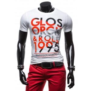 Pánske tričko v konfekčnej veľkosti bielej farby s červeným nápisom
