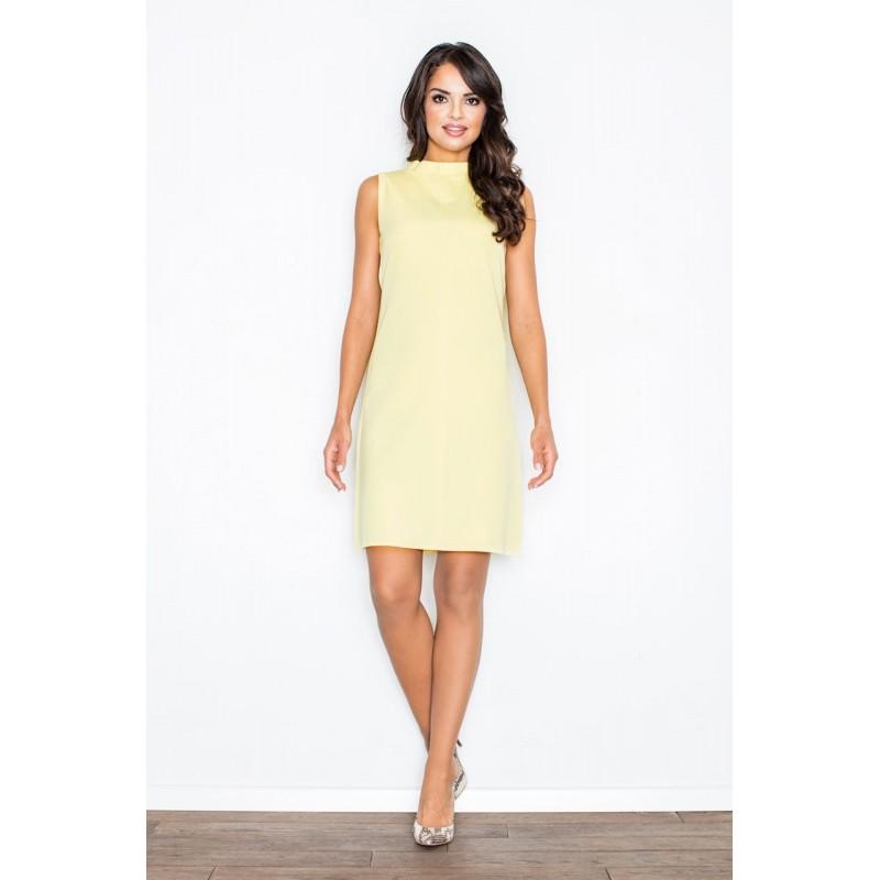 Dámske krátke žlté šaty bez rukávov 705fce15bee