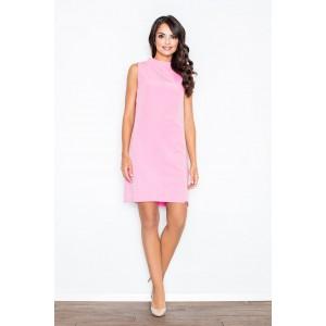 Ružové dámske šaty v retro strihu bez rukávov