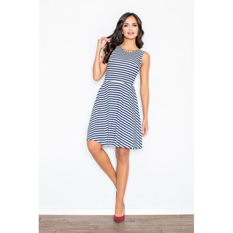 d955494f59a0 Dámske námornícke šaty s voľnou sukňou