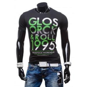 Pánske tričká s originálnym dizajnom čiernej farby a so zeleným nápisom