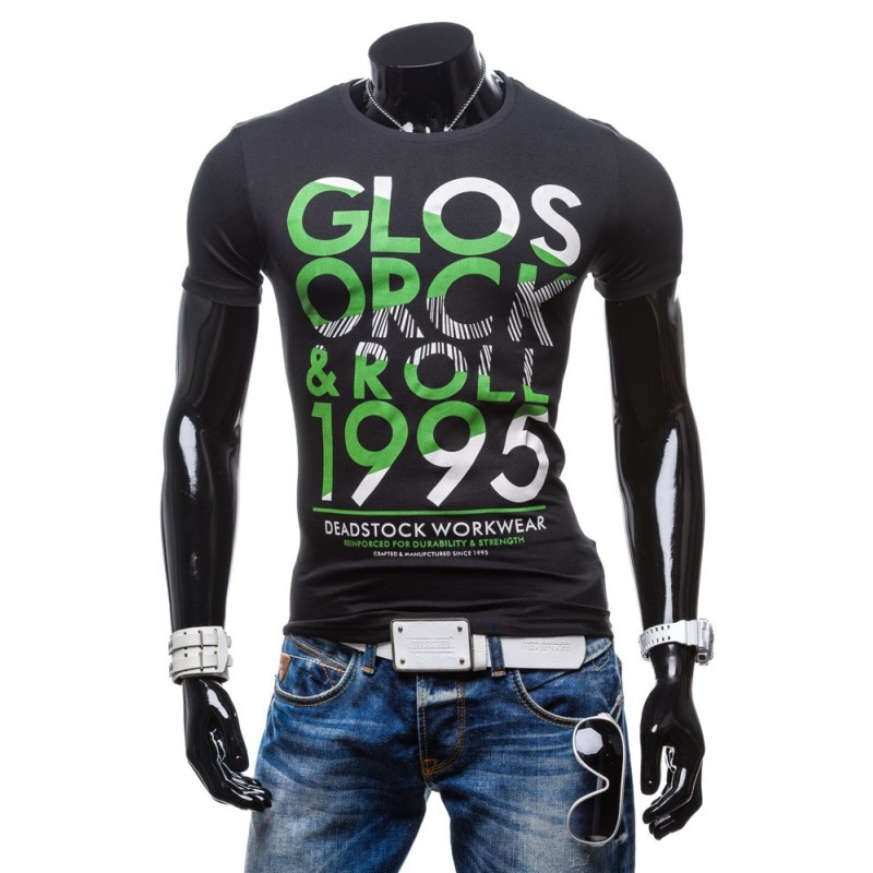 8430e9c969c7 Pánske tričká s originálnym dizajnom čiernej farby a so zeleným ...