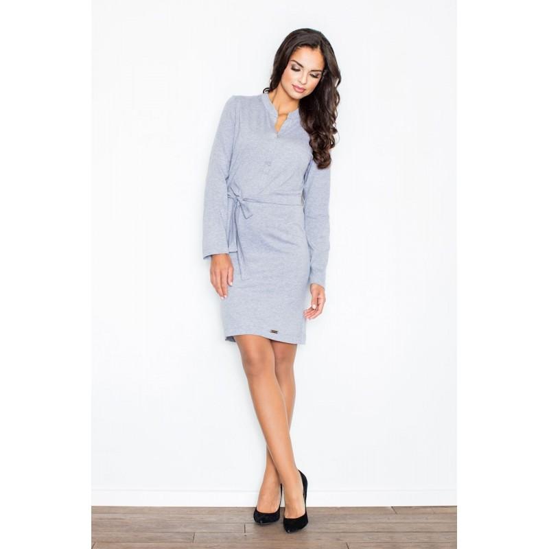 0f7c8d7030f6 Sivé bavlnené dámske šaty s viazaním v páse