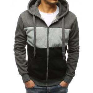 Kvalitná pánska mikina s kapucňou na zips v sivej farbe