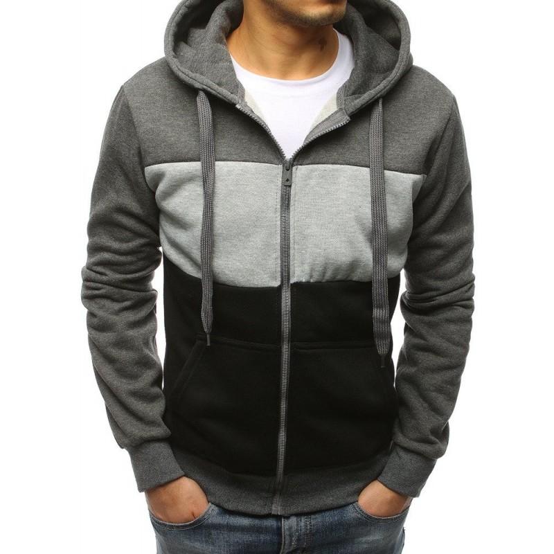Kvalitná pánska mikina s kapucňou na zips v sivej farbe 3ec62a34c56