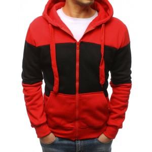 Červeno čierna pánska mikina na zips