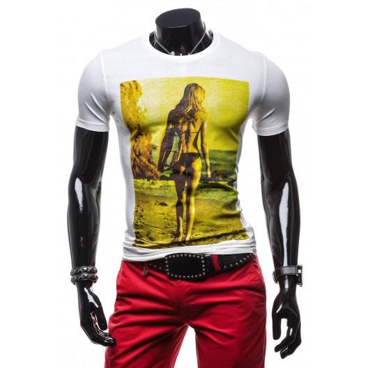 Pánske tričko bielej farby s originálnou potlačou