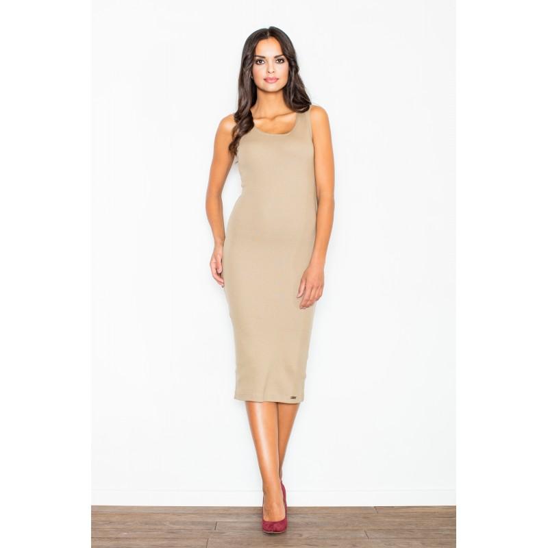 Polodlhé úzke dámske šaty béžovej farby na leto d838ccf4ff9