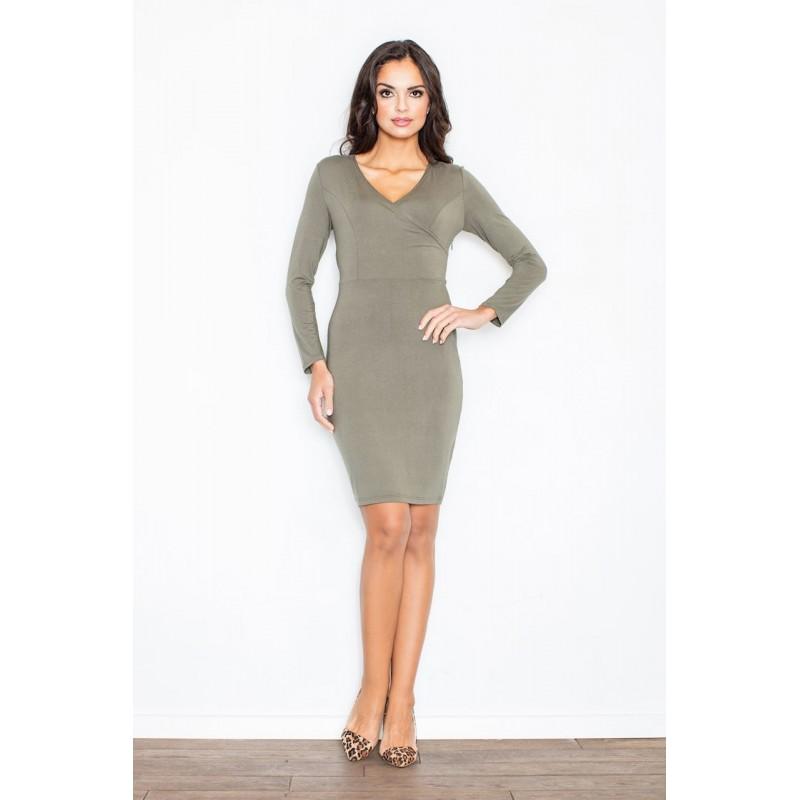 1e46e6467d9c Dámske úzke šaty olivovo zelenej farby s výstrihom tvaru V