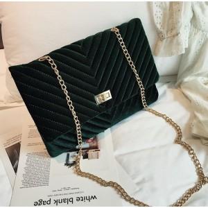 Veľká elegantná listová kabelka tmavo zelenej farby