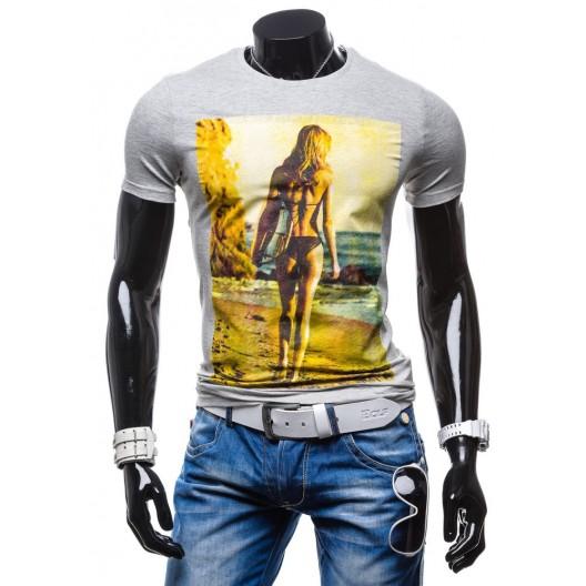 Športové pánske tričká s potlačou sivej farby