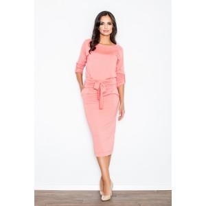 Dámske elegantné šaty korálovej farby s mašľou