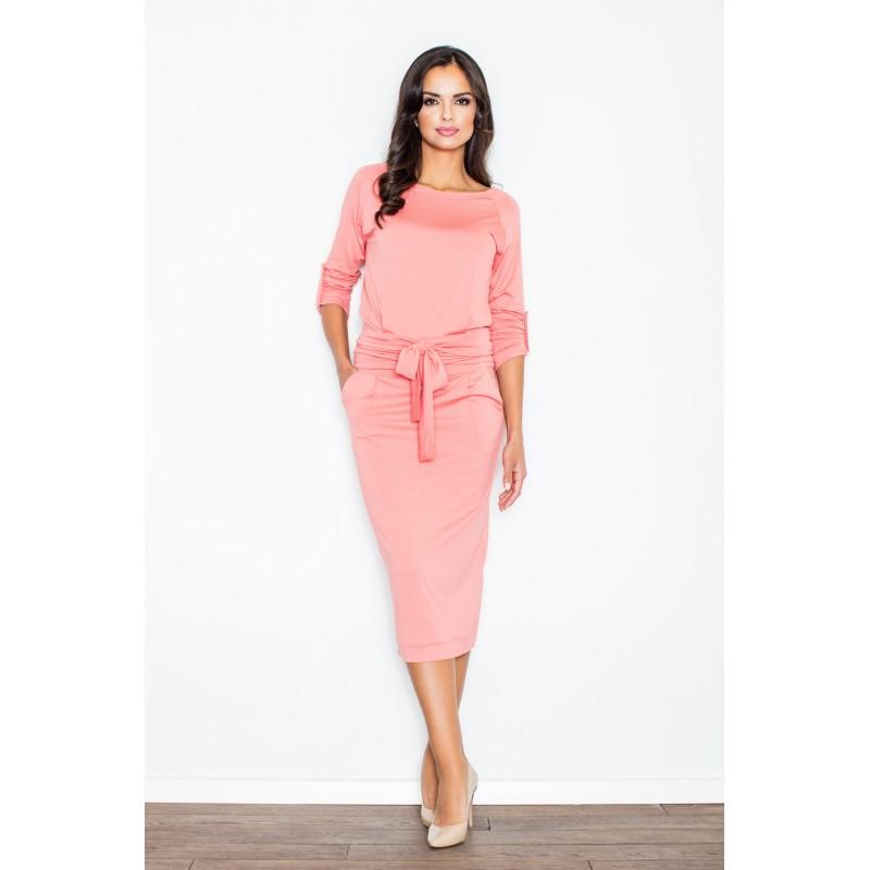 Dámske elegantné šaty korálovej farby s mašľou e32fb3ee5f8
