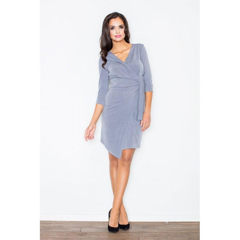930657297940 Asymetrické šaty sivej farby s výstrihom do tvaru písmena V