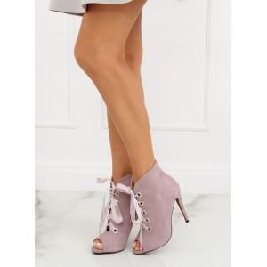 Dámske členkové topánky na podpätku s otvorenou špičkou