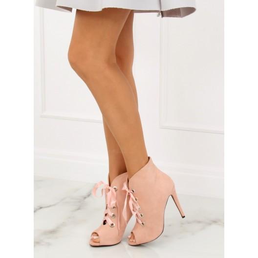 Ružové členkové topánky na tenkom podpätku so stuhou