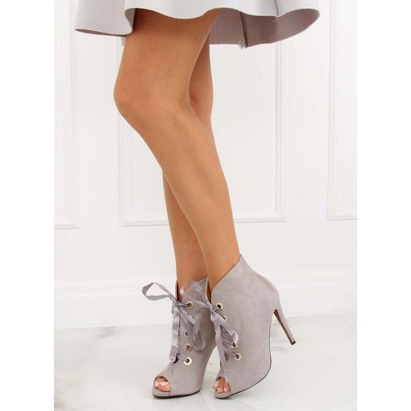 9b627940df9b Elegantné členkové topánky s otvorenou špičkou sivé