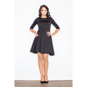 Čierne elegantné dámske šaty s rozšírenou sukňou nad kolená