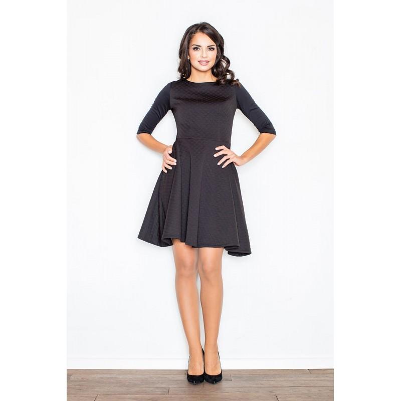 80eea3add5ae Čierne elegantné dámske šaty s rozšírenou sukňou nad kolená