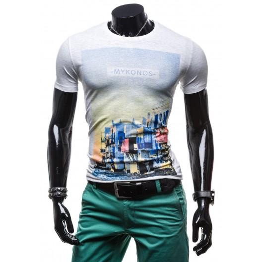 Pánske tričko bielej farby s potlačou a s motívom mesta