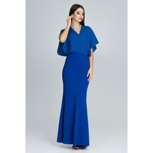 Dlhé dámske spoločenské šaty modrej farby