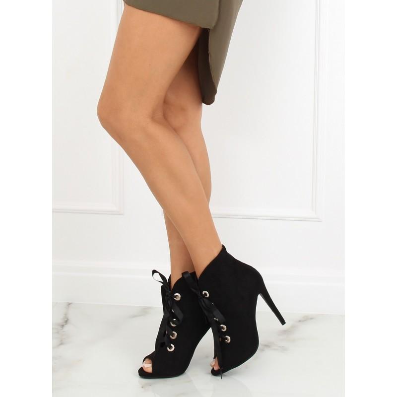 3f3f2c11ee Luxusné čierne dámske členkové topánky s mašľou a otvorenu špičkou