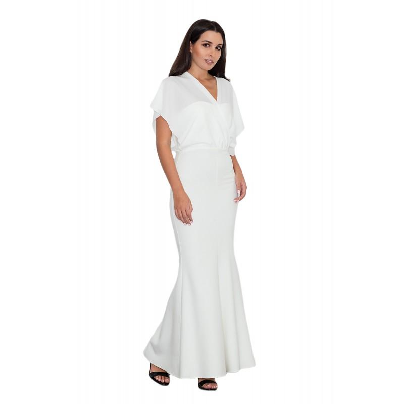 Biele dlhé dámske šaty kombinované 752d6669c8d