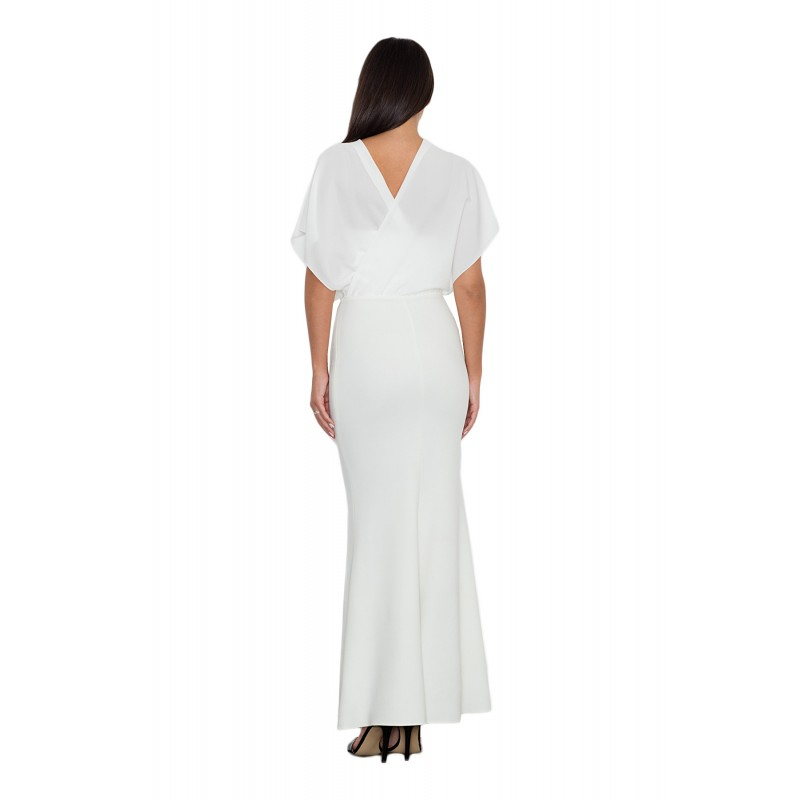 b89777d796cd Biele dlhé dámske šaty kombinované