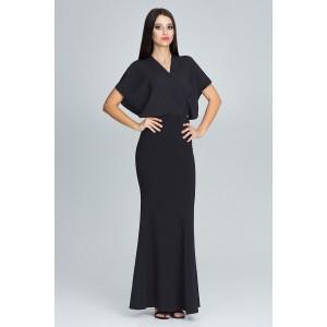 Čierne dlhé šaty dámske s efektným vrchom