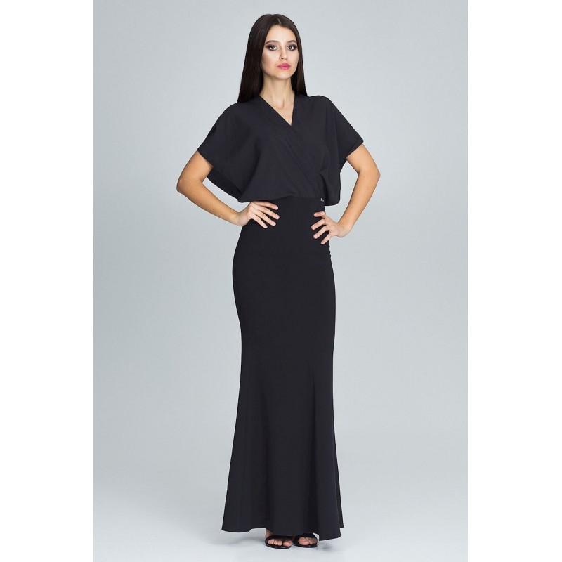 8edf16b4bba6 Čierne dlhé šaty dámske s efektným vrchom