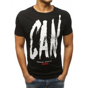 b5239ea96 Originálne pánske čierne tričko na voľný deň s originálnym nápisom