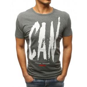 Štýlové pánske tričko sivej farby s krátkym rukávom a módnym dizajnom