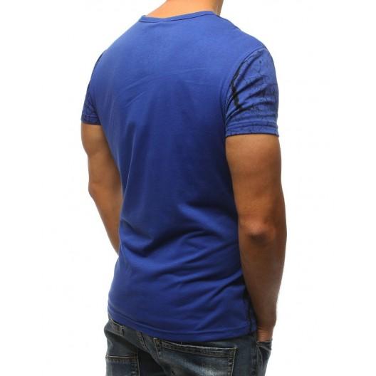 Športové pánske tričko v modrej farbe s potlačou nápisu