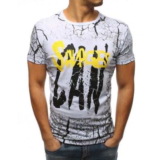 Biele pánske tričko s krátkym rukávom a originálnym žltým nápisom