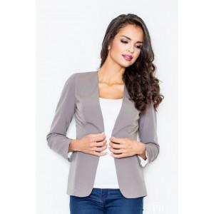 Elegantné sivé sako bez zapínania