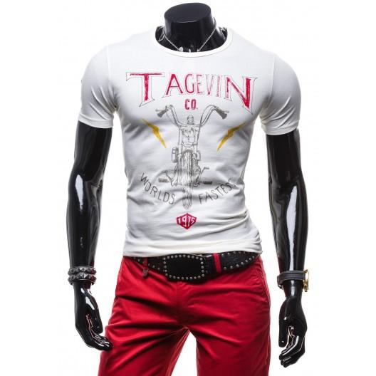 Moderné pánske tričko bielej farby 100% balvna